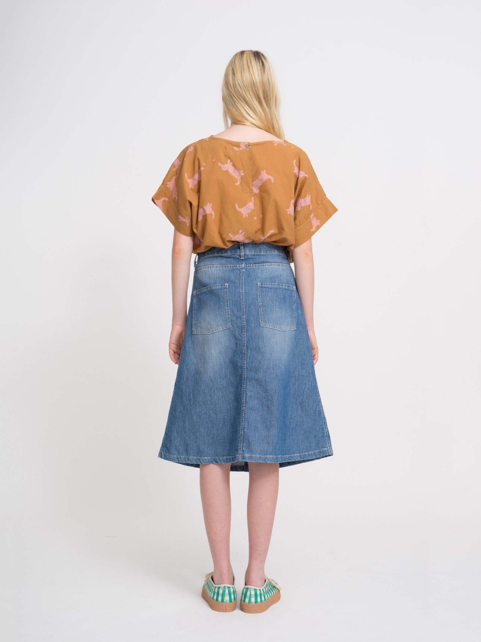 Woman Denim Pocket Skirt Look