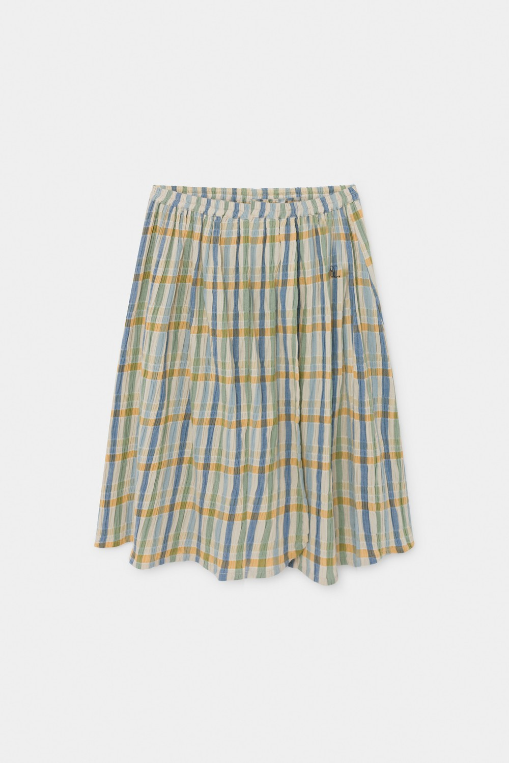 Checker Wrap Midi Skirt