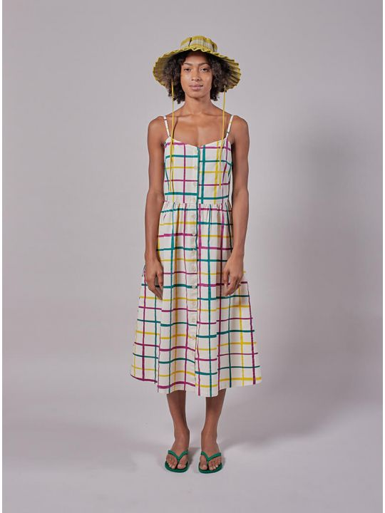 Multicolour Check Strap Dress