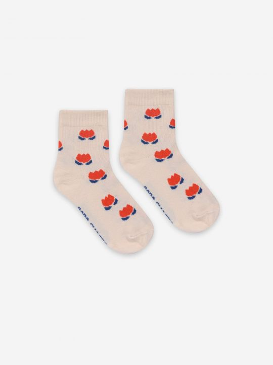 Red Chocolate Flowers Short Socks