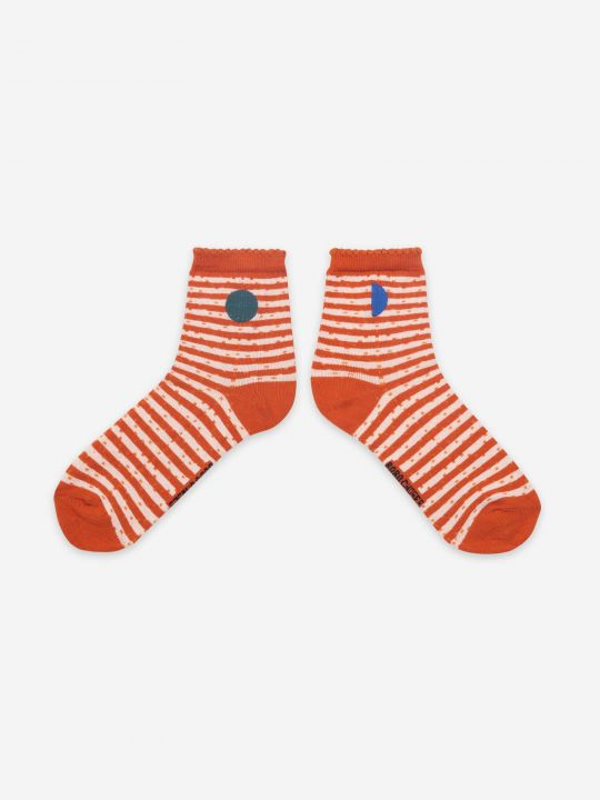 Orange Stripes Short Socks