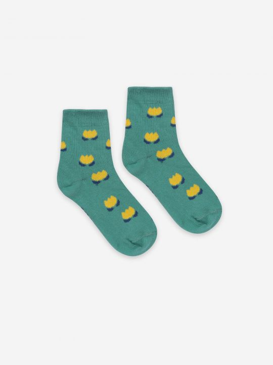 Yellow Chocolate Flowers Short Socks