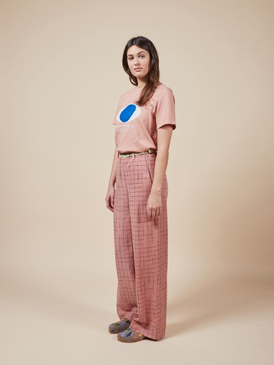 Grid Wide Leg Pants