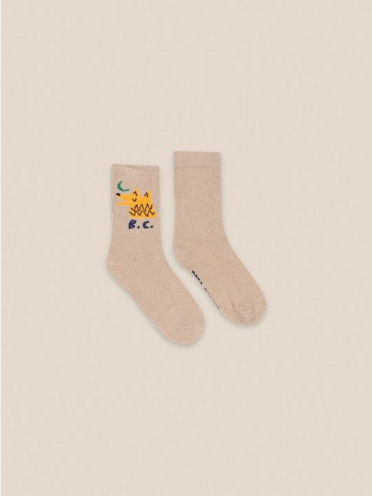 Moon Wolf Beige Socks
