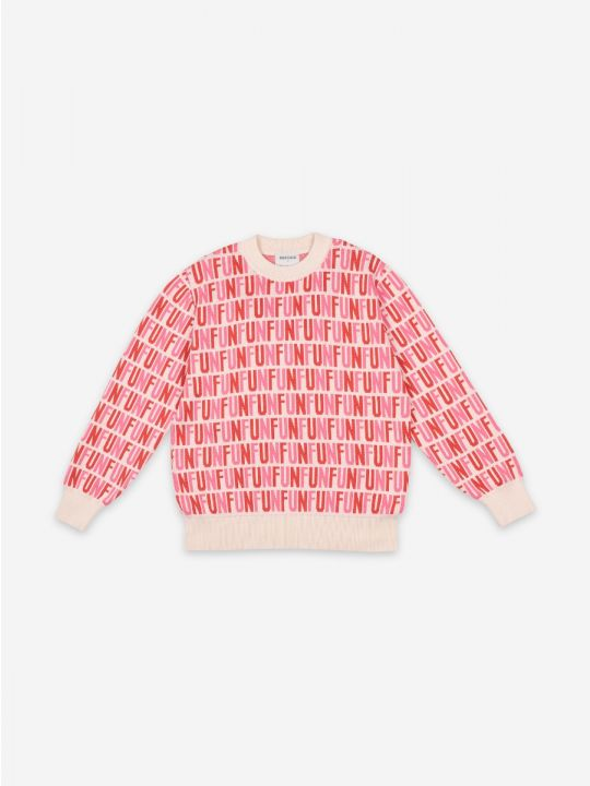 FUN Pink Print Round Neck Jumper