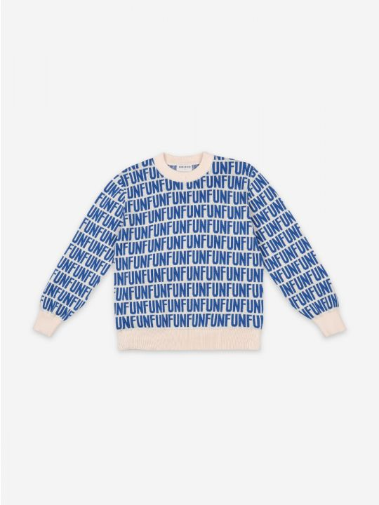 FUN Blue Print Round Neck Jumper