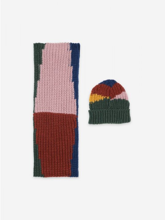 Color Block neck warmer and beanie set