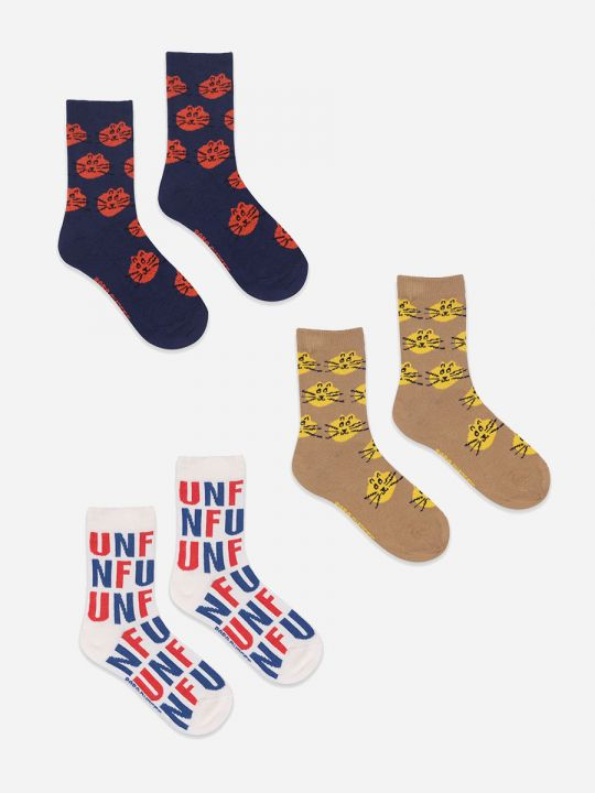Fun and Cat Jacquard socks pack x3