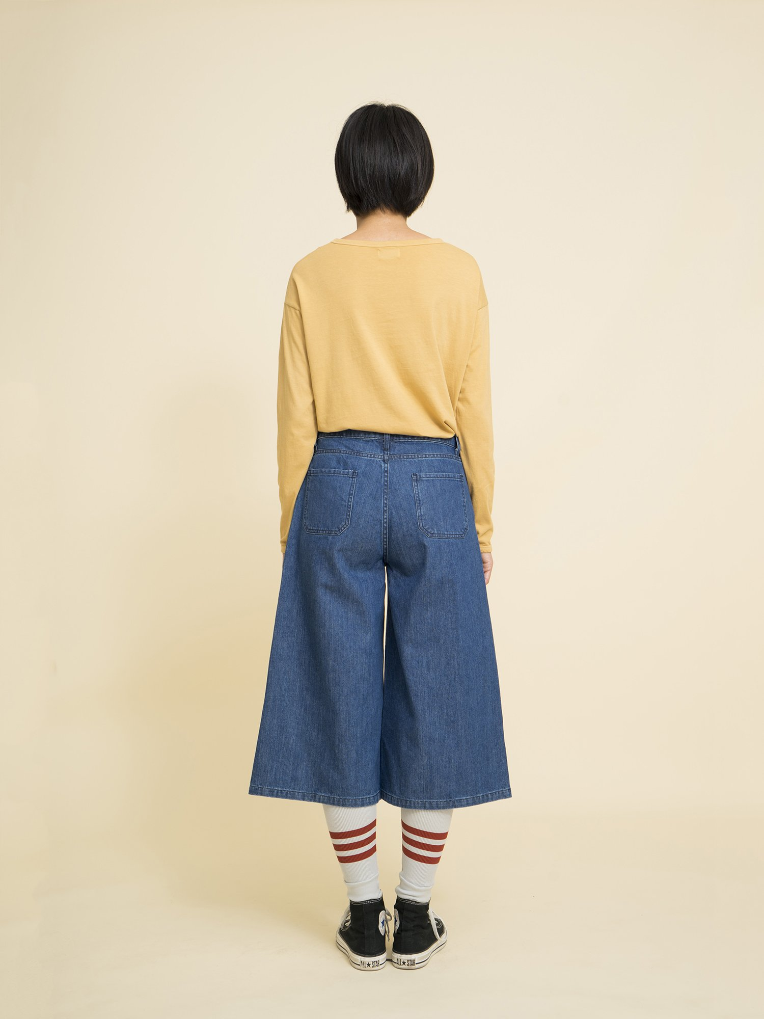Denim Flared Culotte Pants